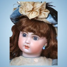 """French 26"""" Tete Jumeau Bebe 11 with Blue Paperweight Eyes & Lovely  Costume circa 1890!"""