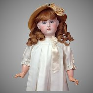 "Superb 24.5"" SFBJ Jumeau With Big Blue Paperweight Eyes, Pale Complexion, Stunning Original Costume & Wig~ WOW!"