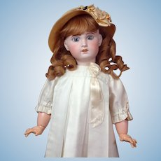 """Superb 24.5"""" SFBJ Jumeau With Big Blue Paperweight Eyes, Pale Complexion, Stunning Original Costume & Wig~ WOW!"""