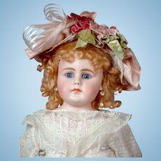 """26"""" Gebruder Kuhnlens Closed-mouth Antique doll circa 1890 in Antique Dress"""
