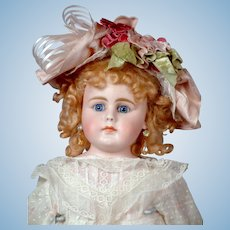 "26"" Gebruder Kuhnlens Closed-mouth Antique doll circa 1890 in Antique Dress"
