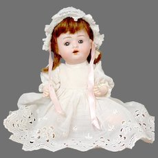 """Adorable 9"""" German Baby Doll in White Dress"""