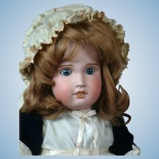 "French Jumeau SFBJ 31"" Antique Bisque Doll in Velvet Blue Dress"