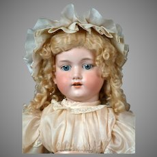 "Armand Marseille 390 Antique Bisque Doll in Silk Dress & Bonnet 29"""