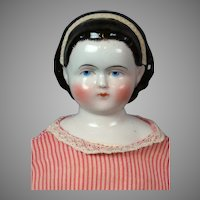 """Alice"" Antique China Lady Doll 19.5"" with Pink Pinstriped Dress"