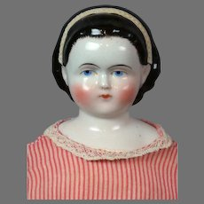 """""""Alice"""" Antique China Lady Doll 19.5"""" with Pink Pinstriped Dress"""