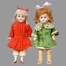 "Pair of Petite Antique German Dolls 8.5"" Simon & Halbig Handwerck and 8"" Armand Marseilles"
