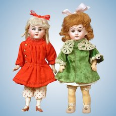 "Pair of Petite Antique German Dolls 8.5"" Simon & Halbig Handwerck and 8"" Armand Marseilles"