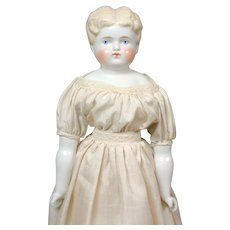 """Charming 17"""" Blond China Lady in White Dress"""