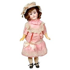 "Charming 19"" German Bisque Doll in Original Pink Silk Dress"