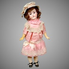 "Charming 19"" German Bisque Doll in Original Pink Silk Dress"