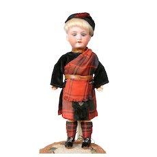 "Adorable 9.5"" Armand Marseilles 390 Boy in Scottish Costume"