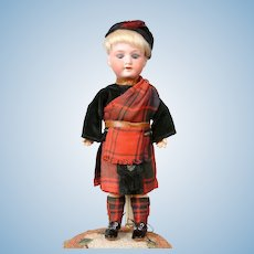 "Adorable 9.5"" Armand Marseilles 390 Boy in Scottish Costume"