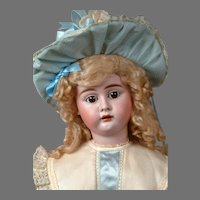 "Bahr and Proschild 273 Antique Bisque Child Doll in Bright Blue Costume 24"""