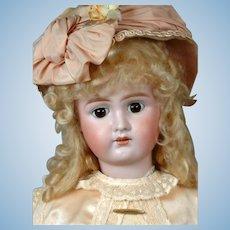 Bahr & Proschild 275 Antique Bisque Doll in Cream and Pink Silk Costume