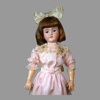 """HUGE 34"""" Walkure by Kley & Hahn Antique Bisque German Doll in Pretty Pink Silk Dress"""