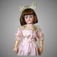 "HUGE 34"" Walkure by Kley & Hahn Antique Bisque German Doll in Pretty Pink Silk Dress"