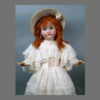 HUGE Handwerck Halbig Antique Bisque Doll with Ginger Wig in Silk Dress 33""