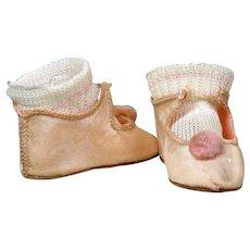 Wonderful Heinrich Handwerck Pink Silk Shoes with Original Rayon Socks