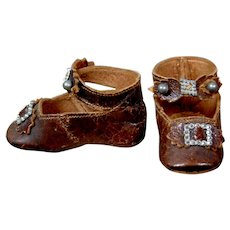 Gorgeous c.1885 Leather Keystone Shoes for Your French Bebes