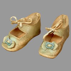 Lovely Leather Pale Blue Heeled Shoes for Your German Bebe