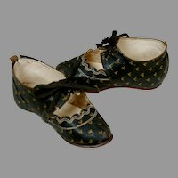 Exquisite Antique Black Leather Baby Shoes Perfect for French or German Dolls