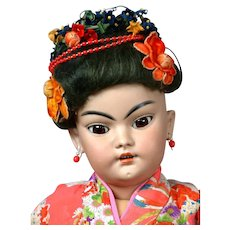 "24.5"" Antique Simon & Halbig Rare 1129 Oriental Child Doll in Great Costume Representing a Japanese Child! C 1890-1900"