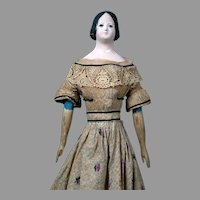 "Large 19.5"" Papier Mache Milliner's Model Original Doll with Stunning Original Dress circa 1840"