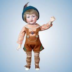 "Beyond Adorable- RARE 15.5"" Kestner 220 Character Toddler Antique Doll in Lederhosen"