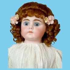 "Lovely 18"" German Kidskin Shoulder Head Doll in White Dress"