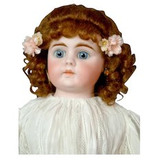 "Lovely 18"" German Kidskin Shoulder Head Doll in White Dress"