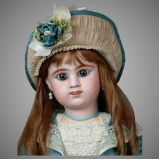 """Remarkable Large 29"""" Etienne Denamur French Bebe Circa 1889 E13D with Rare Smiling Expression"""