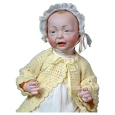 """Delightful K&R """"Kaiser"""" Large 19"""" Antique Character Baby Doll in Antique Whitewear"""