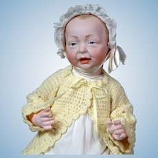 "Delightful K&R ""Kaiser"" Large 19"" Antique Character Baby Doll in Antique Whitewear"