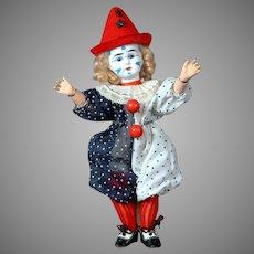 "9"" Whimsical Antique French Clown Bisque Head doll circa 1900"