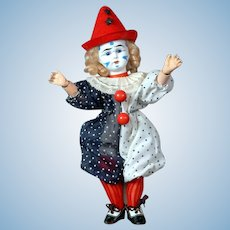 "9"" Whimsical Antique French Clown Bisque Head doll circa 1900"