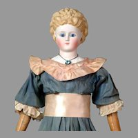 "Rare 25"" Antique Glass-Eyed Parian Lady w/Elaborate Blond Curls, Molded Blouse in Antique Dress & Rare Inset Necklace"