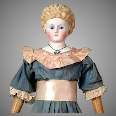 """Rare 25"""" Antique Glass-Eyed Parian Lady w/Elaborate Blond Curls, Molded Blouse in Antique Dress & Rare Inset Necklace"""