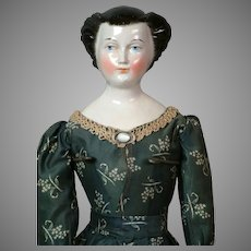 """25"""" Rare Regal China Lady Doll with Fancy Upswept Hairdo circa 1850"""