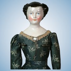 "25"" Rare Regal China Lady Doll with Fancy Upswept Hairdo circa 1850"