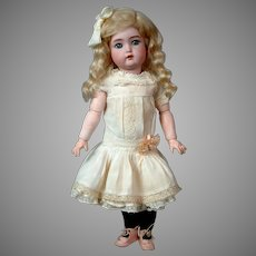 """Delightful 16.5"""" Simon & Halbig 1299 Character Child C. 1912 in Original Factory Chemise From My Personal Collection"""