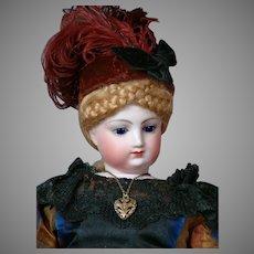 "Gorgeous 16.5"" Jumeau Poupee in  Antique Gown~Perfect Condition~Mesmerizing Cobalt Blue Eyes!"
