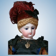 "Gorgeous 16.5"" Jumeau Poupee in  Antique Gown~Perfect Condition~Mesmerizing Cobalt Blue Eyes!"
