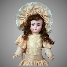 Darling Unusual Antique Santa Doll in Lovely Peach Dress and Matching Bonnet