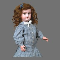 """16.5"""" Rare French Flirting Mechanical Roulet & Descamps Walking Doll with Simon & Halbig 1039 Head"""