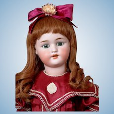 "Precious 24.5"" Simon & Halbig 1078 Antique Bisque Doll in Burgundy Silk Dress"