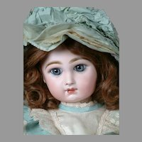 "Stunningly Beautiful 19"" Closed-Mouth Tete Jumeau with Antique Wig"