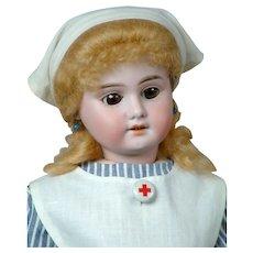 """Darling 17.5"""" Armand Marseille 1894 """"Nurse Janice"""" in Antique Nurse Costume"""