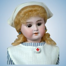 "Darling 17.5"" Armand Marseille 1894 ""Nurse Janice"" in Antique Nurse Costume"
