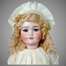 """25"""" Simon & Halbig 1349 """"Jutta"""" Antique Bisque Doll in Lovely Antique Off-White  Dress"""